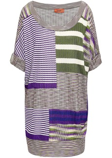 Missoni Woman Patchwork-effect Ribbed-knit Top Lilac