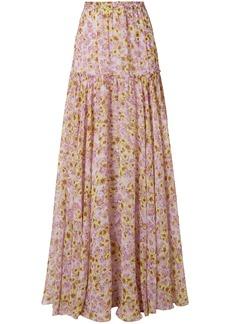 Missoni Woman Pleated Floral-print Silk-chiffon Maxi Skirt Baby Pink