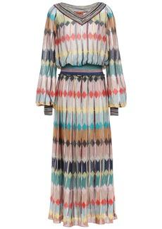 Missoni Woman Pleated Metallic Crochet-knit Midi Dress Blush