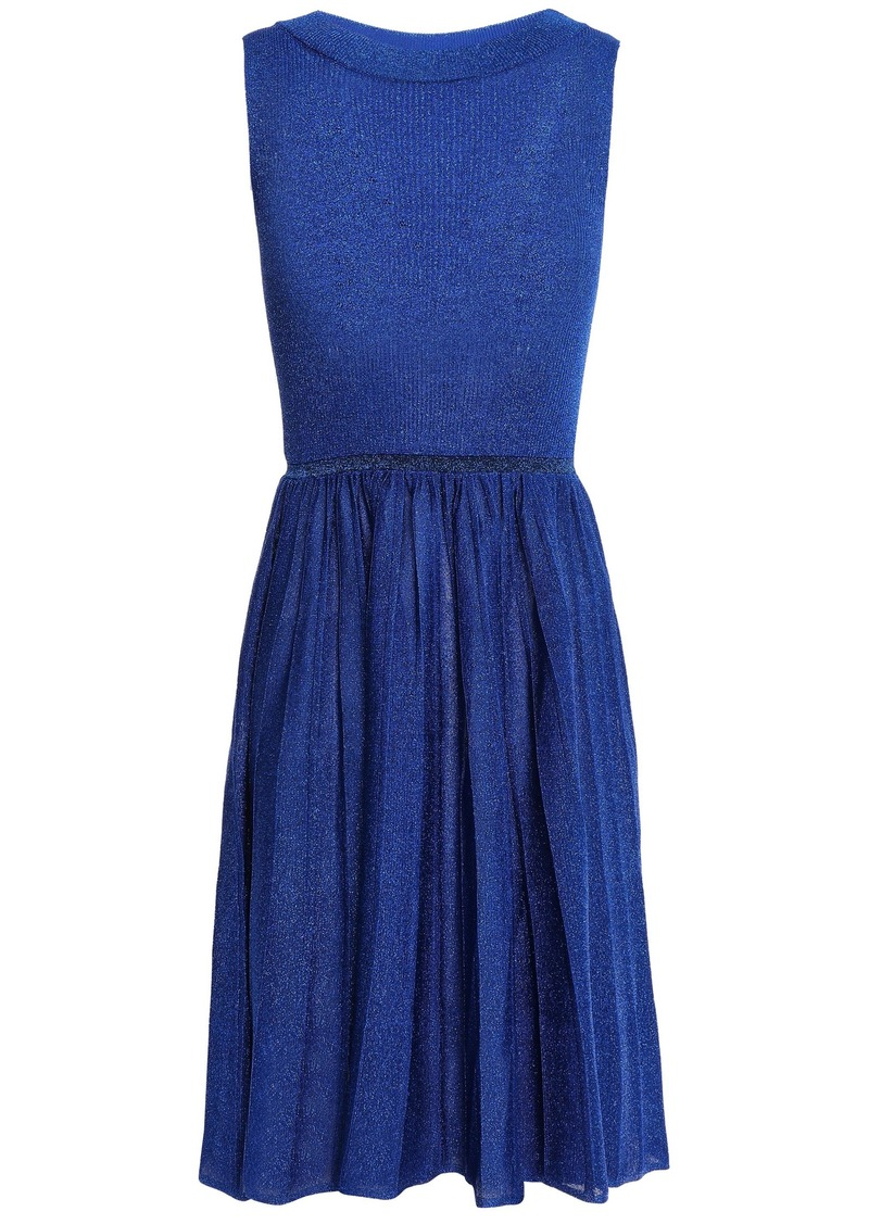Missoni Woman Pleated Metallic Knitted Dress Royal Blue