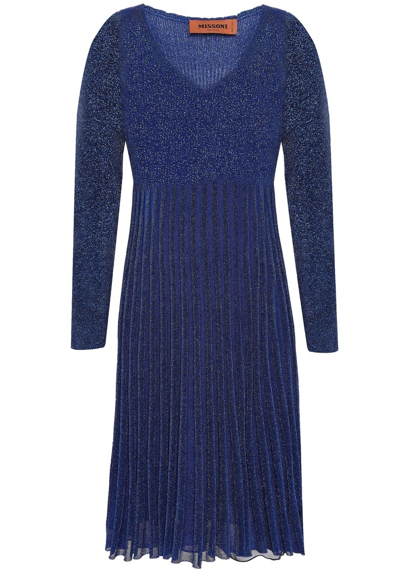Missoni Woman Pleated Metallic Ribbed-knit Dress Royal Blue