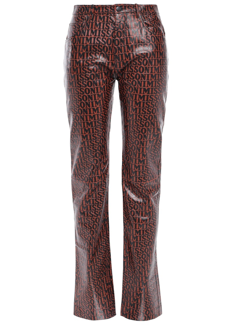 Missoni Woman Printed Leather Straight-leg Pants Brick