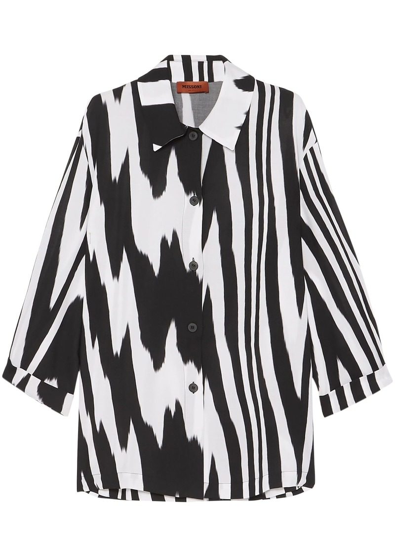 Missoni Woman Printed Mousseline Shirt Black