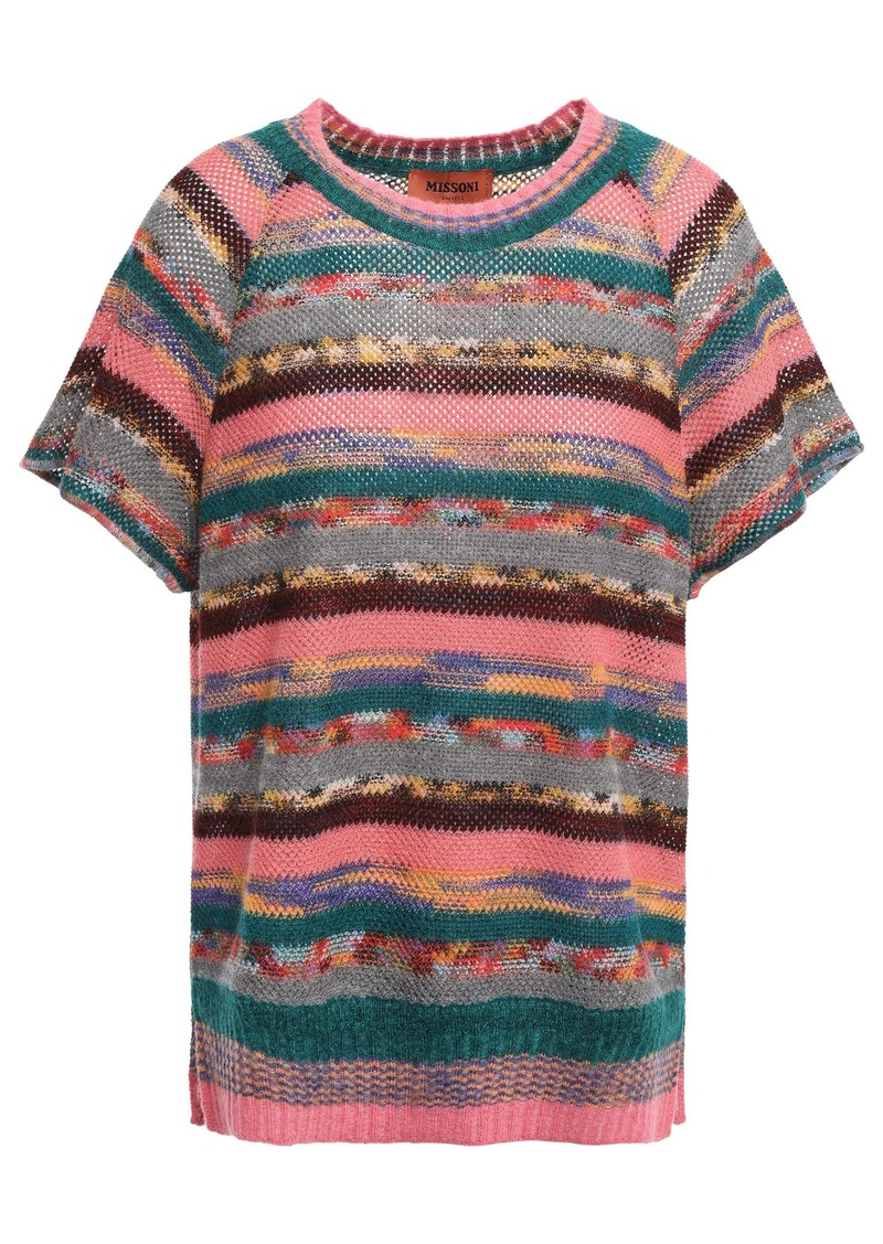 Missoni Woman Printed Pointelle-knit Top Antique Rose