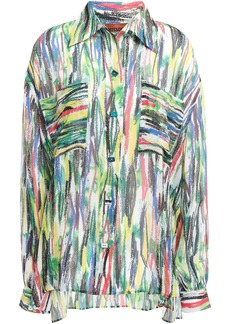 Missoni Woman Printed Silk-georgette Shirt Green