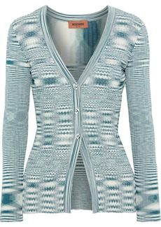 Missoni Woman Ribbed And Crochet-knit Cardigan Forest Green