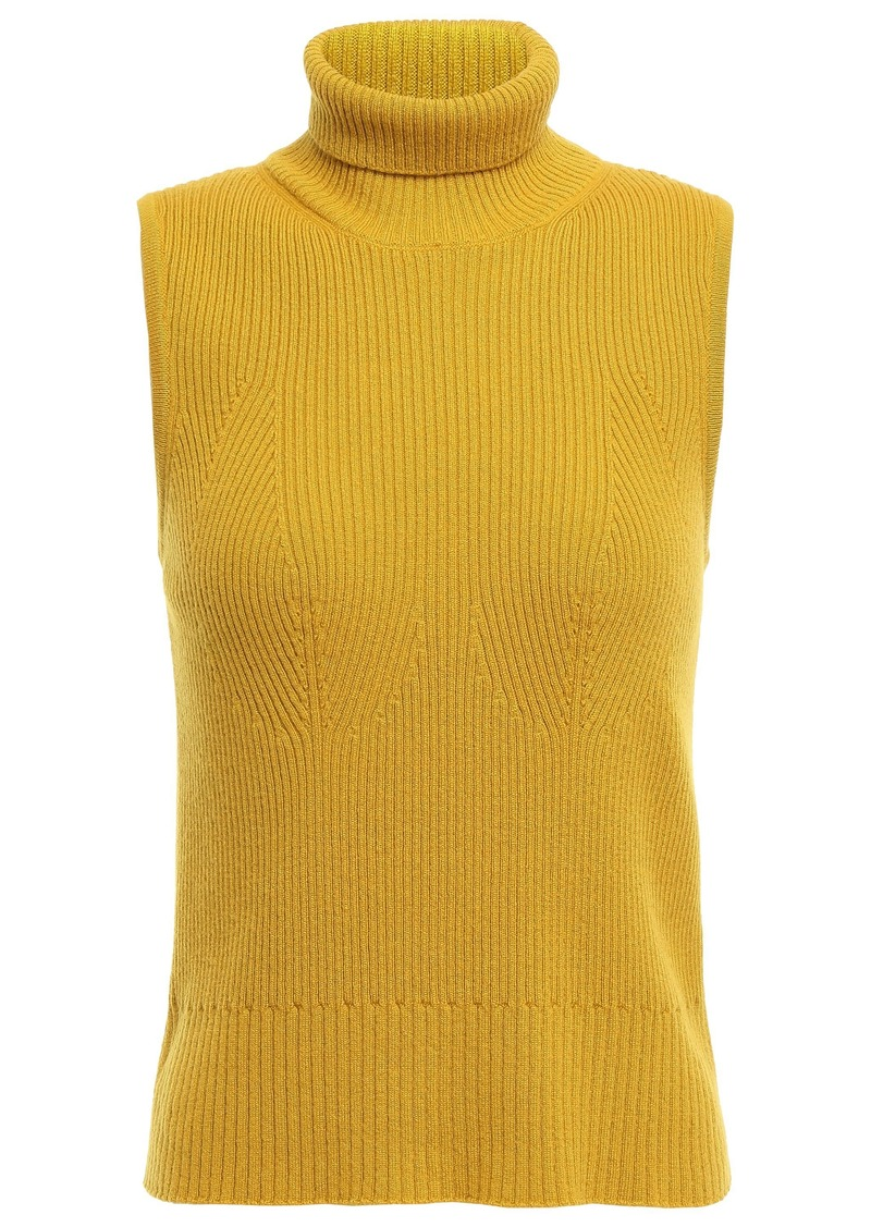 Missoni Woman Ribbed Cashmere Turtleneck Top Mustard