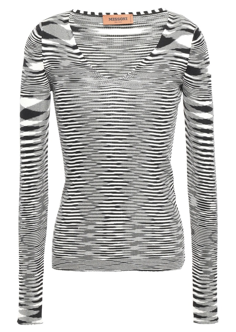 Missoni Woman Marled Ribbed-knit Top Black