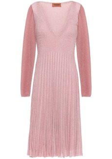 Missoni Woman Pleated Metallic Two-tone Ribbed-knit Dress Pink