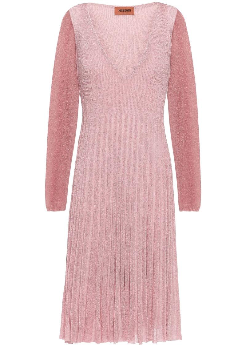 Missoni Woman Pleated Metallic Ribbed-knit Dress Pink