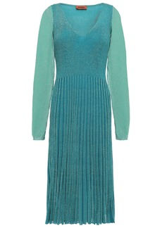 Missoni Woman Ribbed Metallic Knitted Dress Teal