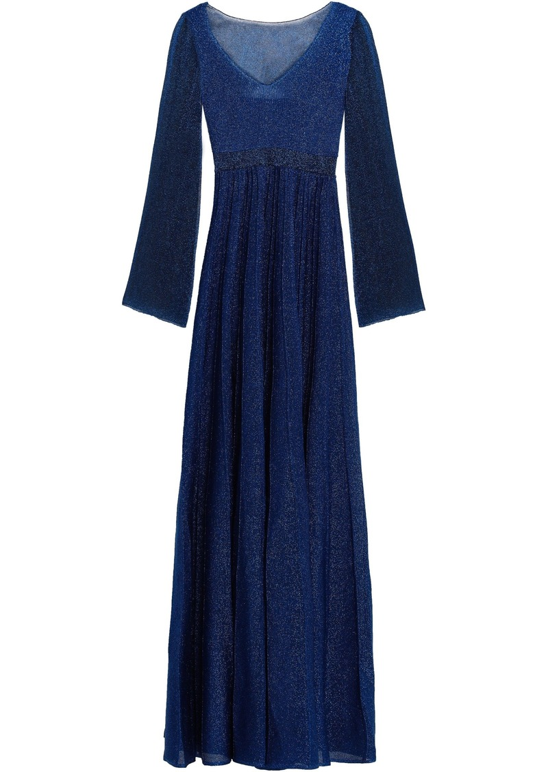 Missoni Woman Pleated Metallic Knitted Maxi Dress Royal Blue