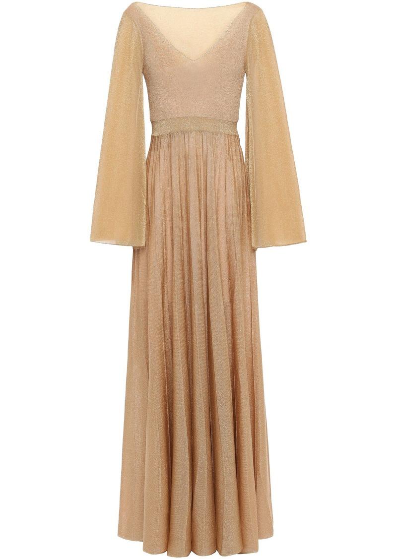 Missoni Woman Pleated Metallic Knitted Maxi Dress Gold