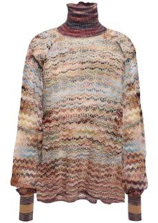 Missoni Woman Ruffle-trimmed Marled Crochet-knit Turtleneck Sweater Lavender