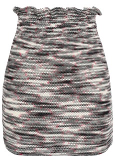 Missoni Woman Ruffle-trimmed Marled Open-knit Wool Mini Skirt Black