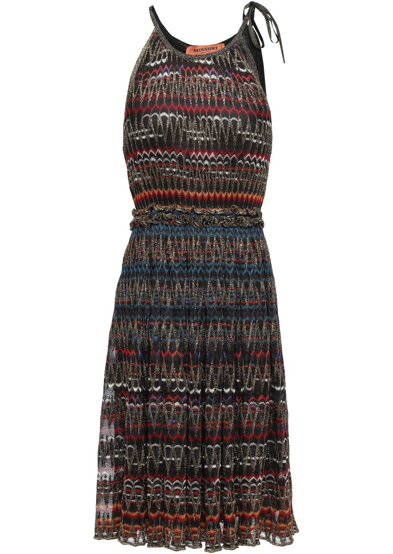 Missoni Woman Ruffle-trimmed Metallic Crochet-knit Dress Black