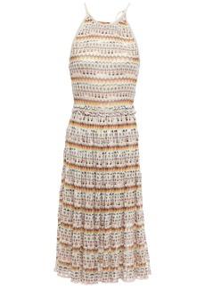 Missoni Woman Ruffle-trimmed Metallic Crochet-knit Dress Cream