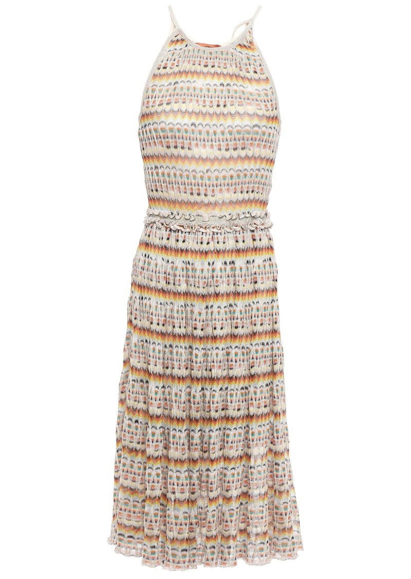 Missoni Woman Ruffle-trimmed Metallic Crochet-knit Dress Cream