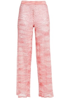 Missoni Woman Sequin-embellished Crochet-knit Flared Pants Pink