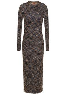Missoni Woman Sequin-embellished Metallic Crochet-knit Midi Dress Navy