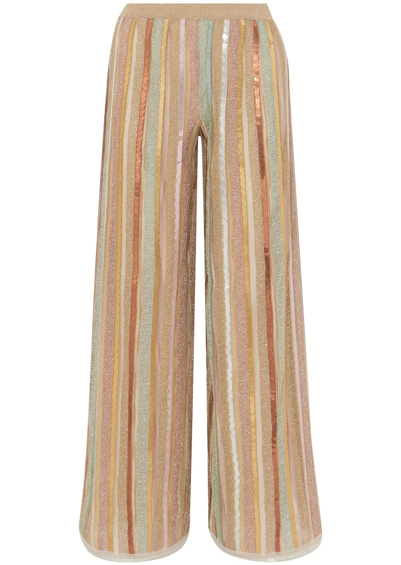Missoni Woman Sequin-embellished Striped Metallic Crochet-knit Wide-leg Pants Gold
