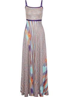 Missoni Woman Sequined Crochet-knit Maxi Dress Lilac