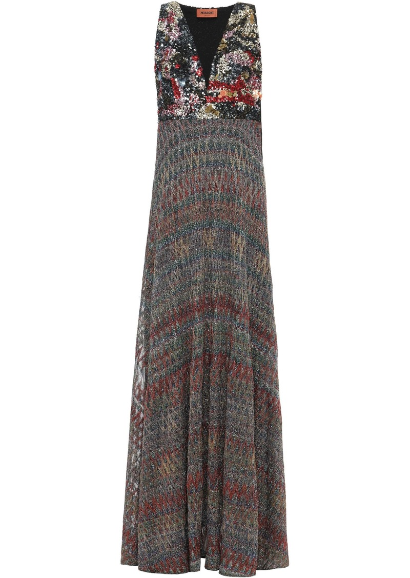 Missoni Woman Sequined Metallic Crochet-knit Maxi Dress Multicolor