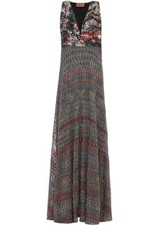 Missoni Woman Sequined Metallic Crochet-knit Maxi Dress Multicolor