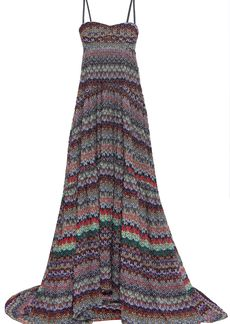 Missoni Woman Strapless Metallic Crochet-knit Gown Black