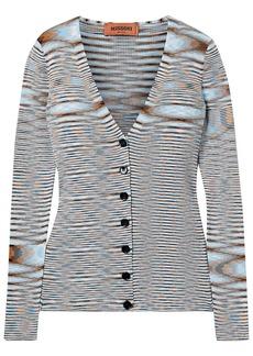 Missoni Woman Striped Crochet-knit Cotton Cardigan Light Blue