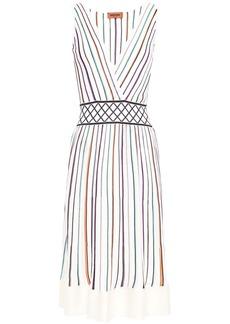 Missoni Woman Jacquard-trimmed Striped Ribbed-knit Dress White