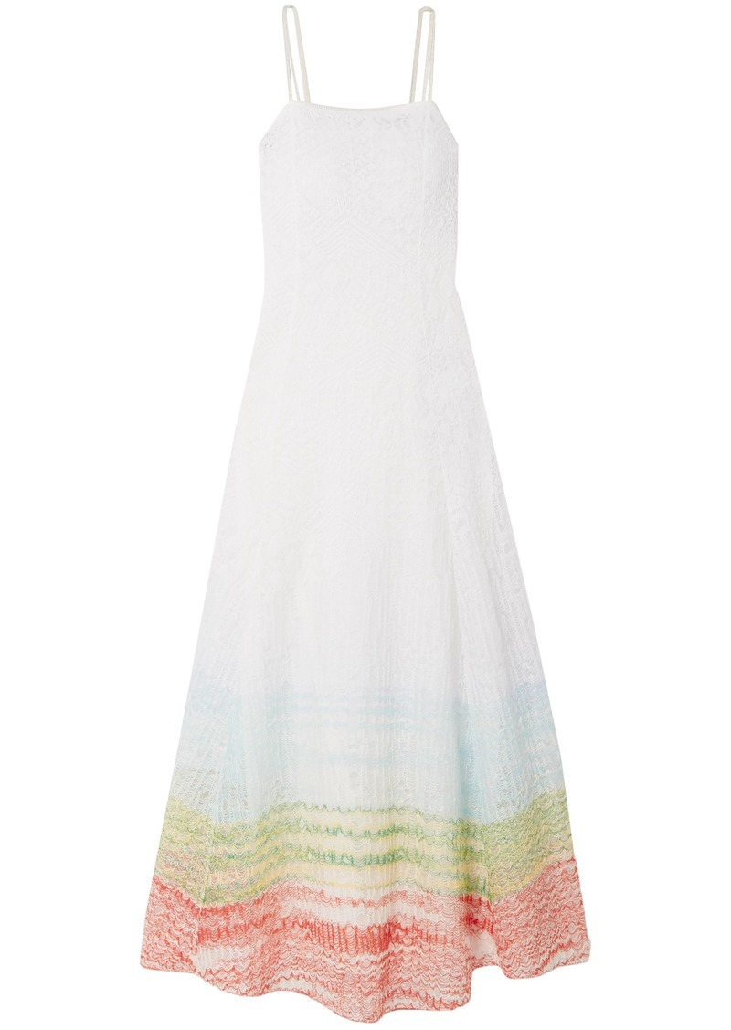 Missoni Woman Striped Crochet-knit Linen-blend Maxi Dress Ivory