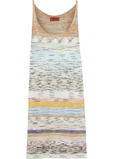 Missoni Woman Striped Crochet-knit Linen-blend Mini Dress Ecru