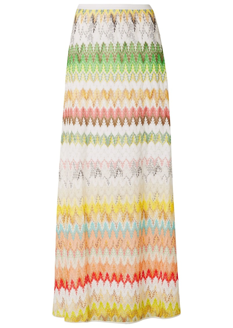 Missoni Woman Striped Crochet-knit Maxi Skirt Ivory