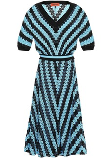Missoni Woman Striped Crochet-knit Midi Dress Sky Blue