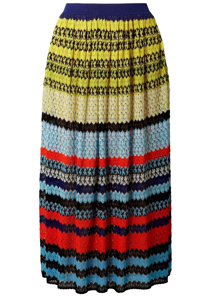 Missoni Woman Striped Crochet-knit Midi Skirt Sky Blue