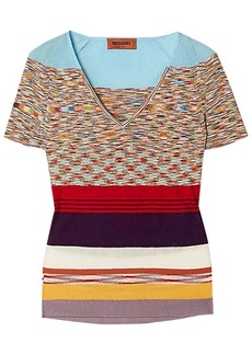 Missoni Woman Striped Crochet-knit Top Multicolor