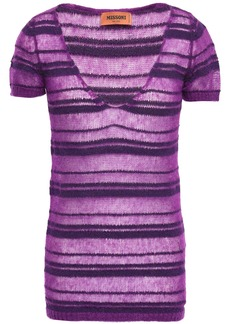Missoni Woman Striped Crochet-knit Top Purple