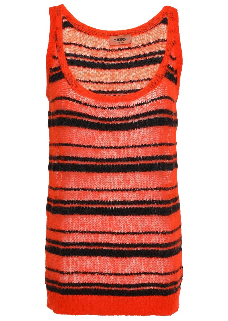 Missoni Woman Striped Crochet-knit Top Tomato Red