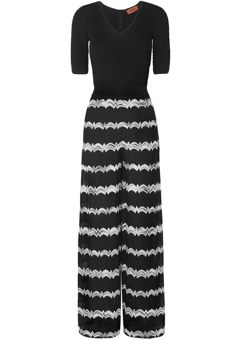 Missoni Woman Striped Crochet-knit Wide-leg Jumpsuit Black