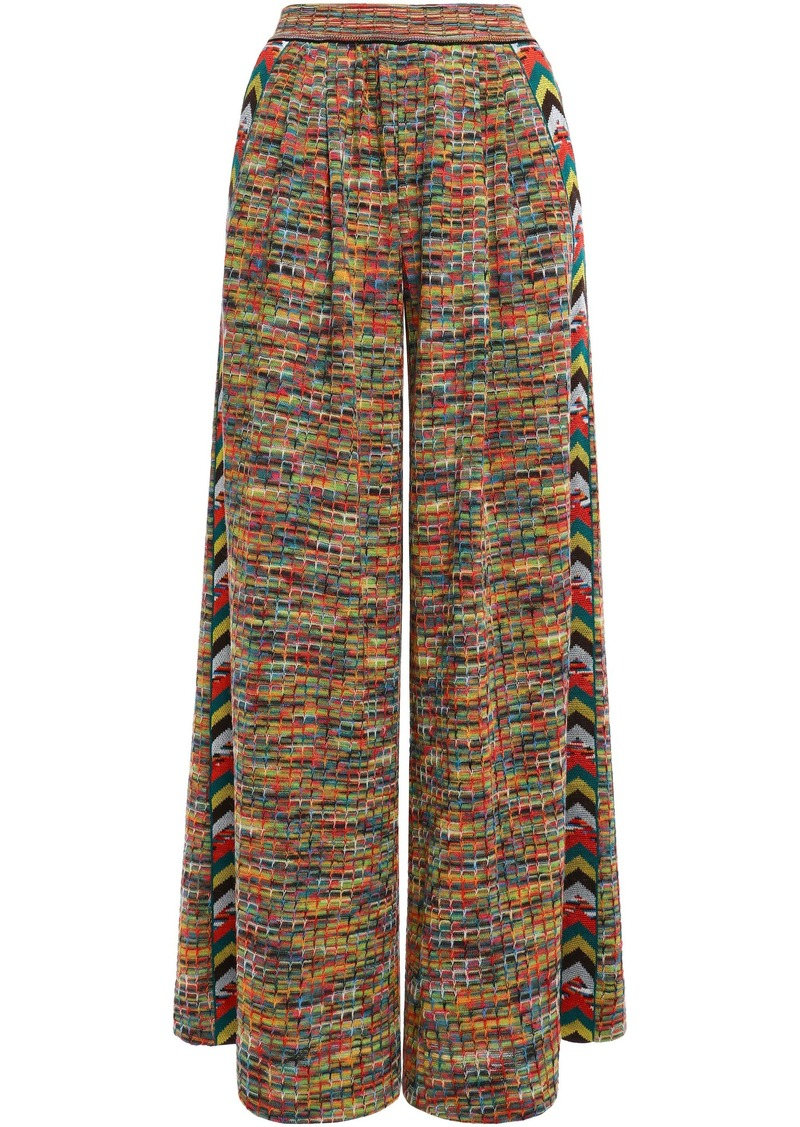 Missoni Woman Striped Crochet-knit Wool-blend  Wide-leg Pants Mustard