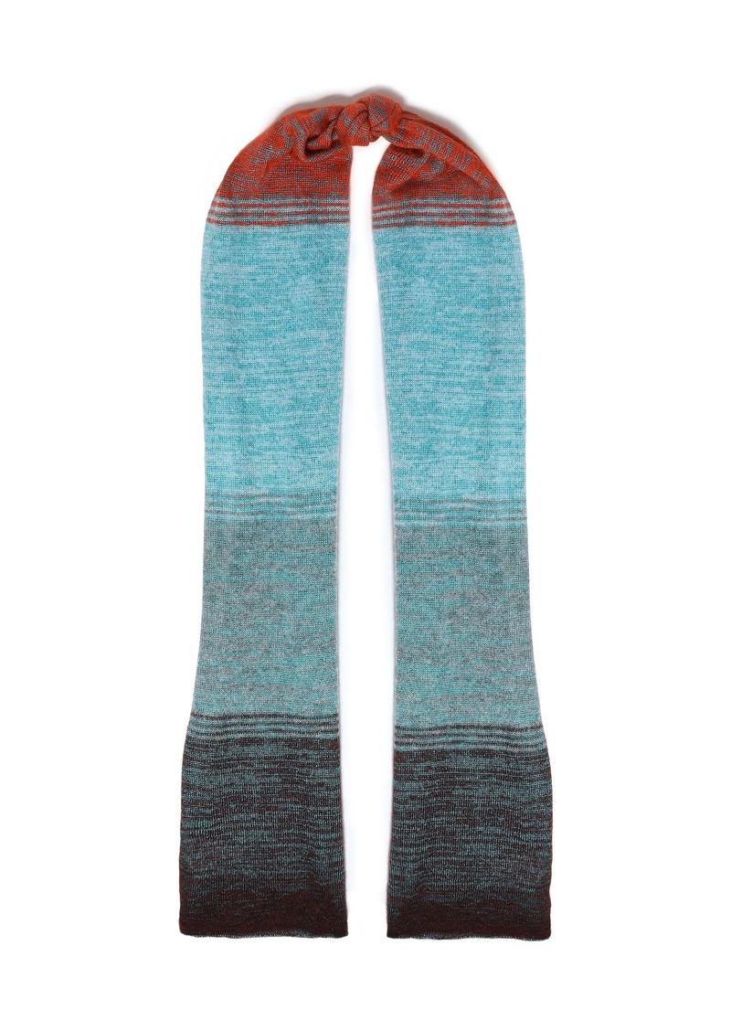 Missoni Woman Dégradé Crochet-knit Scarf Light Blue