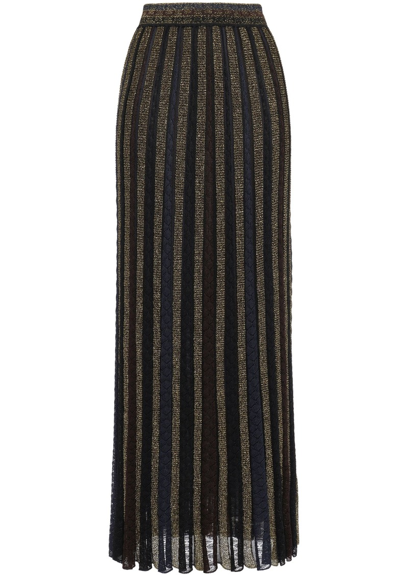 Missoni Woman Pleated Metallic Striped Crochet-knit Maxi Skirt Gold