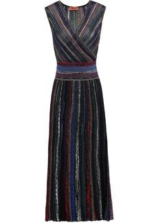 Missoni Woman Striped Metallic Crochet-knit Midi Dress Midnight Blue