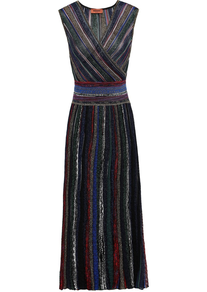 Missoni Woman Striped Metallic Crochet-knit Midi Dress Midnight Blue