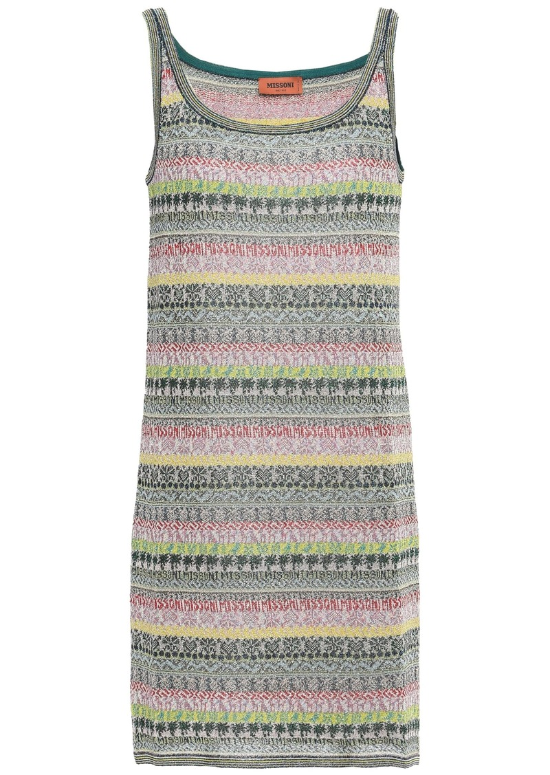 Missoni Woman Striped Metallic Crochet-knit Mini Dress Forest Green