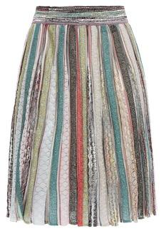 Missoni Woman Flared Metallic Crochet-knit Skirt Jade