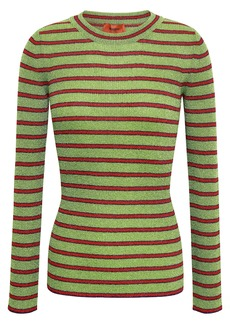 Missoni Woman Striped Metallic Crochet-knit Top Lime Green