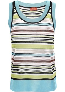 Missoni Woman Striped Pointelle-knit Tank Lime Green