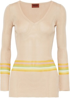 Missoni Woman Striped Ribbed Silk-blend Top Neutral